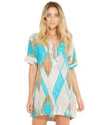 Geometric print beach mini dress with sleeves - AGATA BARLAVENTO