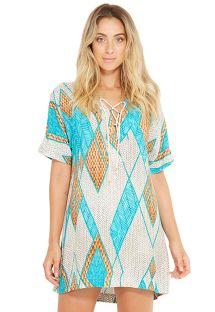 Geometric print beach mini dress with sleeves - AGATA BARLAVENTO