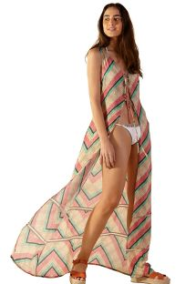 Geometric print beach dress with textured effect - AMURA POLINESIA
