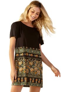 Black & ocher print short straight dress - BRIGITTE KASUTI