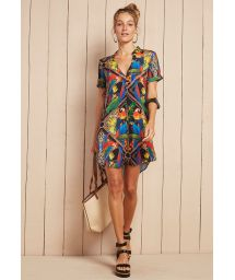 Tropical print beach shirt dress - CHEMISE NAOMI