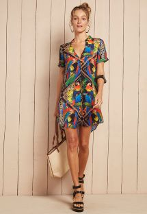 Tropical print beach shirt dress - CHEMISE NAOMI
