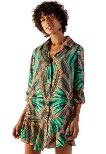 Green ruffled base tropical shirt dress - CHEMISE NEW ESTILO TAI