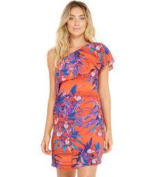 Red and blue off-shoulder beach dress - CRISTAL NOTURNELLA