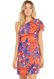 Red and blue off-shoulder beach dress - CRISTAL NOTURNELLA
