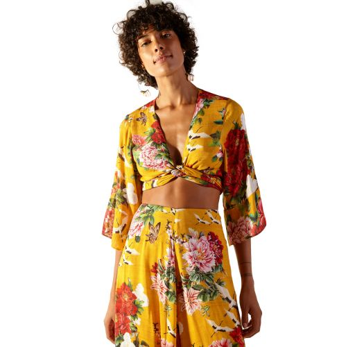 Crop top and loose yellow pants with flowers - CROPPED XANGAI