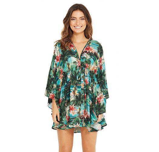 Vestido de praia c/ mangas e padrão verde tropical - EQUILIBRIO ISLA