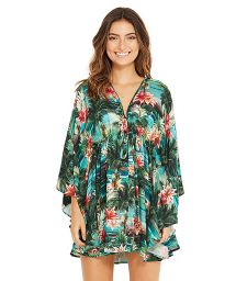 Green printed beach dress with sleeves - EQUILIBRIO ISLA