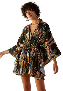 Black feather pattern beach cover-up - EQUILIBRIO YAPI