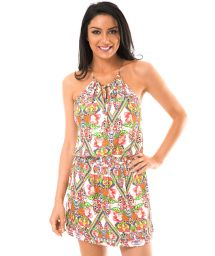 Beach dress with tropical patterns - GUARANA DROP