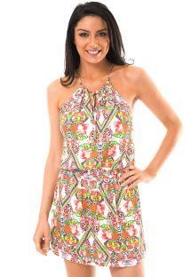 Vestido de praia com padrão tropical - GUARANA DROP