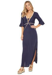 Long navy beach dress with openwork details - JORDANA MARINHO