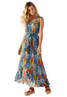Long colorful tropical belted beach dress - LOREN COCARDE