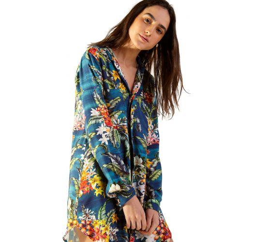 Blue long-sleeved shirt dress with flowers - LUANA ARTA