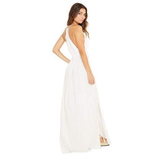 Long white beach dress elastic waist - LUNA BRANCO