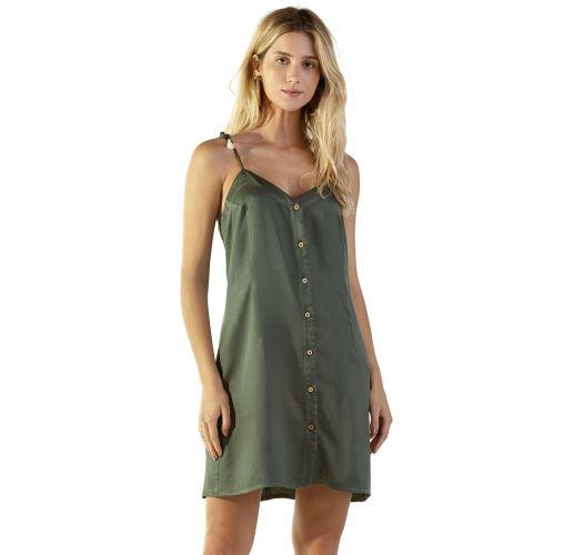 Buttoned military green beach dress - LUZE VERDE