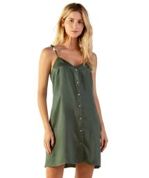 Buttoned military green beach dress - LUZE VERDE