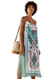 Summer green ethnic print straight dress - MID MIKAELA MUMBAI