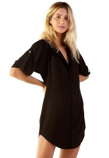 Buttoned black shirt dress - MONACO PRETO
