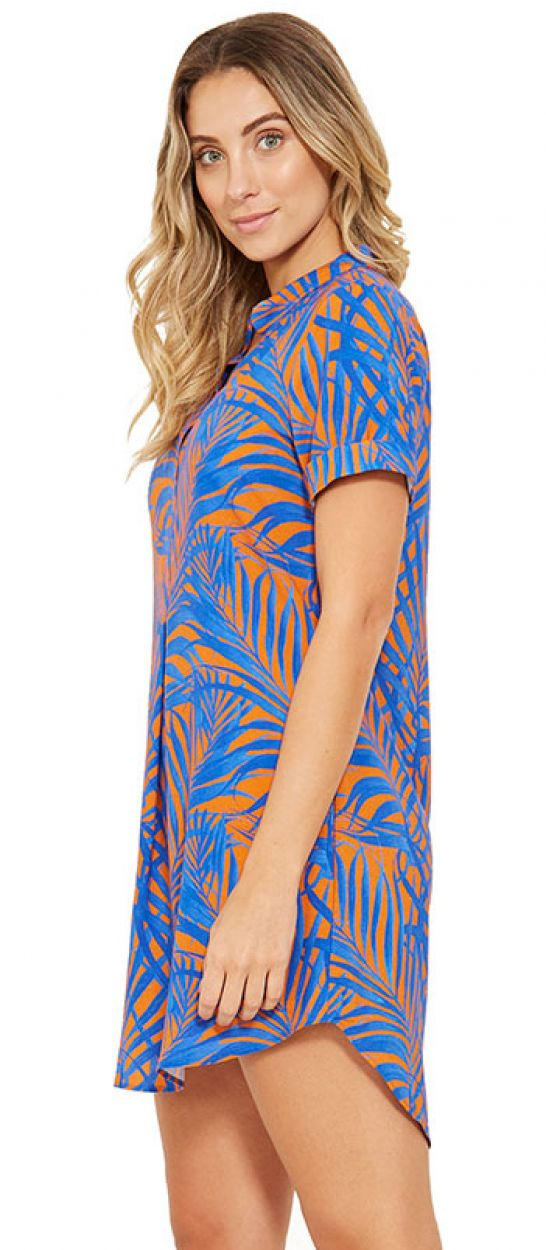 Blue and orange shirt beach dress - NAOMI CAYENA