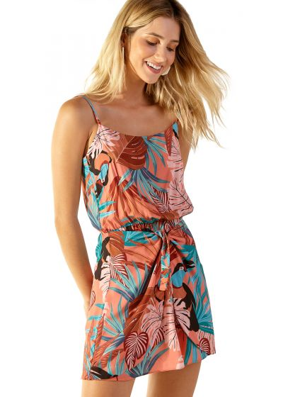 Robe de plage tropical rose taille élastiquée - NATHY PALMAR