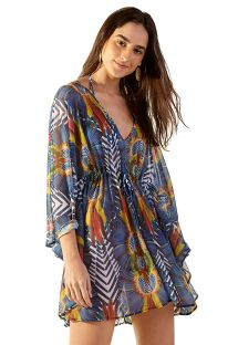 Colorful tropical light beach kaftan with 3/4 sleeves - NEW EQUILIBRIO COCARDE