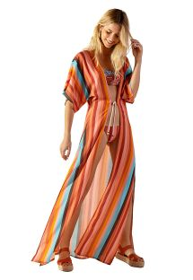 Long beach kaftan with colorful stripes - NICE PALMAR