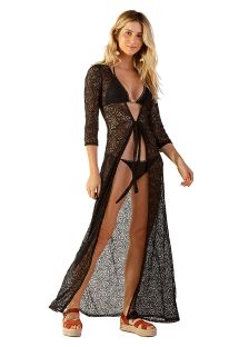 Front-tied long black lace beach dress - OPEN RENDA PRETO