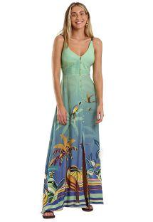 Long buttoned tropical print dress - PRAINHA STORM MARESIA