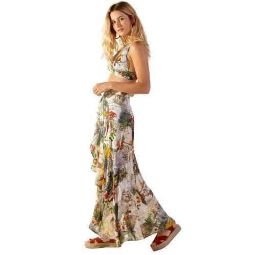 White tropical printed beach bra top and skirt - SUM MUNDI