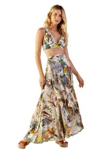 White tropical printed beach bra top and skirt - SUM MUNDI