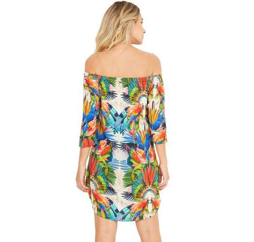 Schulterfreies Shirt-Beachdress - Tropical Print - SUNNY ESPLENDOR