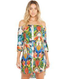 Strandklänning med bara axlar - tropiskt tryck - SUNNY ESPLENDOR