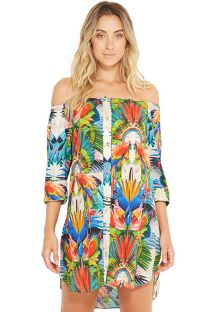 Schulterfreies Shirt-Beachdress - Tropical Print - SUNNY ESPLENDOR