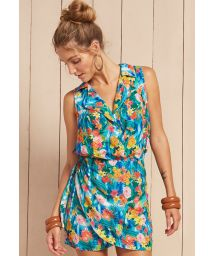 Short sleeveless floral beach dress  - VESTIDO DORA