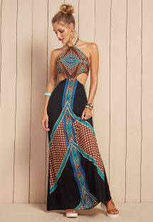 Long backless ethnic-print beach dress - VESTIDO ELISIA