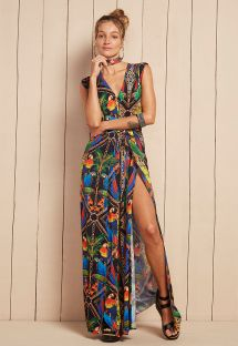 Long flowing tropical print beach dress - VESTIDO HALIA