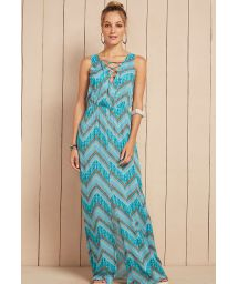 Long blue beach dress with lace-up neckline - VESTIDO KYARA