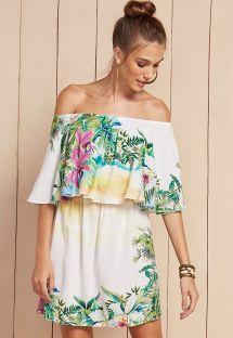 Vestido de praia de ombros nús, branco floral - VESTIDO LAVINIA