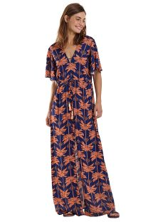 Long navy & copper  beach dress with palm trees - VESTIDO LONGO LETÍCIA