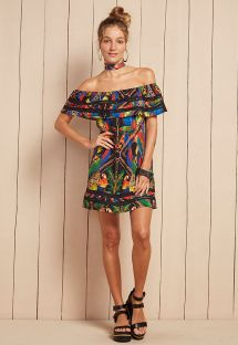 Tropical beach dress with Bardot neckline - VESTIDO PILAR