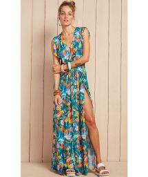 Long flowing tropical floral beach dress - VESTIDO SERENA