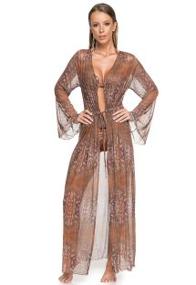 Brown animal print long beach kaftan - MAXI CHEMISE CAMEL