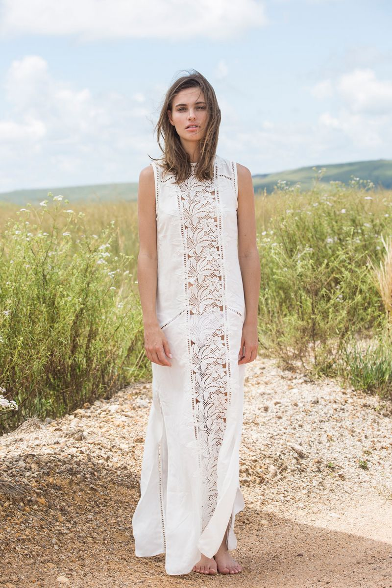 White straight beach dress with flower embroidery - AMANDA OFF WHITE