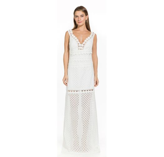 78ac8b3f7854 Μακρύ λευκό φόρεμα παραλίας με διάτρητο ύφασμα - Lauren Off White ...