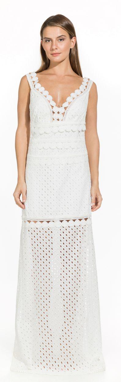 Long white beach dress with openwork - LAUREN OFF WHITE