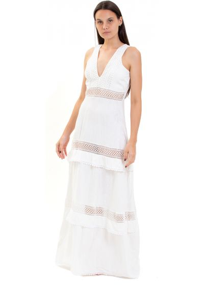 Long white beach dress with embroidery - LUANA OFF WHITE