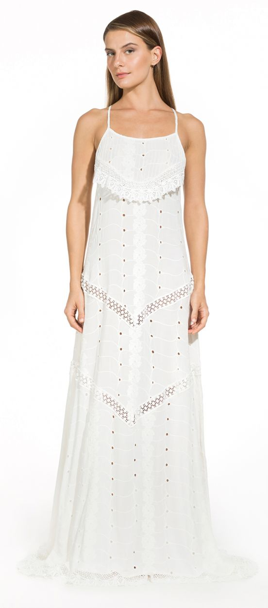 Long white beach dress with crochet details - PALOMA OFF WHITE