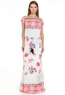 Robe longue bi-matière floral/ethnique - THAIS EMBROIDED RED FLOWER