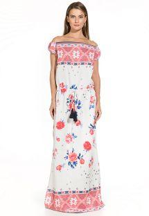 Длинное платье с цветочным/этническим принтом из двух видов ткани - THAIS EMBROIDED RED FLOWER